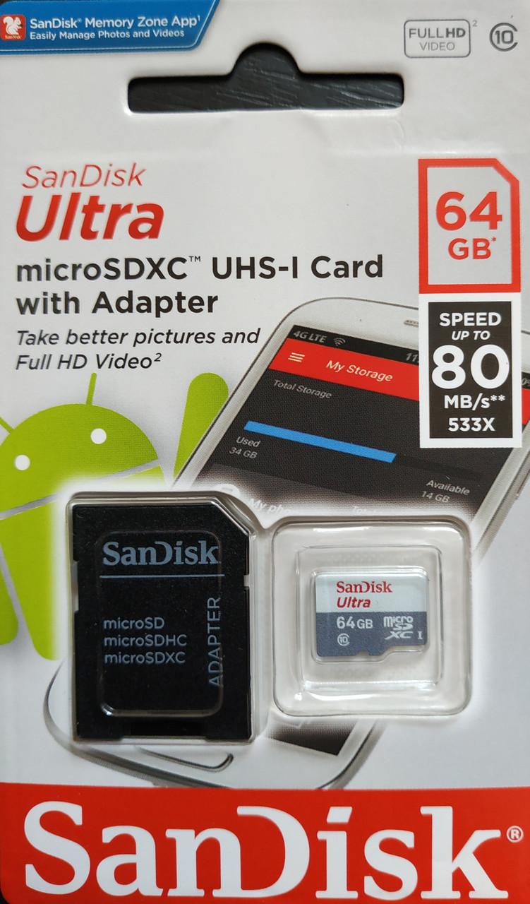 Карта памяти микро SDXC Sandisk Ultra 64 гб класс 10 UHS-1 с адаптером