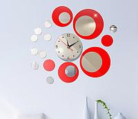 Настенный декор из акриловых кругов с часами, зеркальные и красные