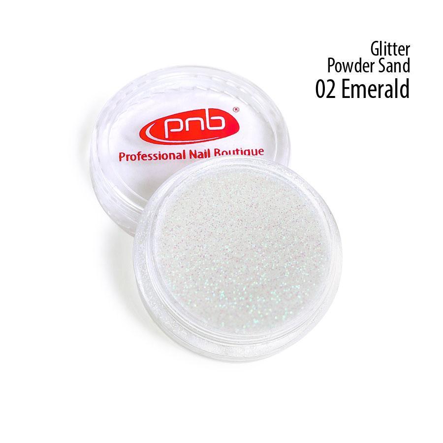 Пудра-песок глиттерная PNB, 02 изумрудная / Glitter Powder Sand, 1г