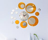 Настенный декор из акриловых кругов с часами, зеркальные серебро и золото яркое