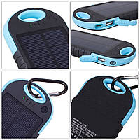 Power bank 12000mAh Blue с солнечной батареей,прорезиненный корпус,2xUSB