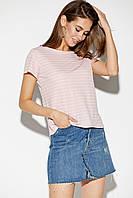 Женская футболка пудрового цвета в полоску, фото 1