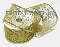 Лента из органзы с рисунком (золото) ширина 6.3см