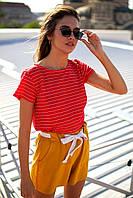 Женская красная футболка в мелкую полоску, фото 1