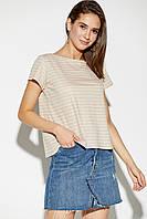 Женская бежевая футболка в полоску, фото 1