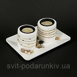Керамический подсвечник на две свечи со стразами и золотистыми лентами GHS185