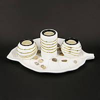 Подсвечник для нескольких свечей с подставкой в виде опавшего листка GHS189