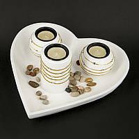 Большой подсвечник сердце и свечи для декора GDS191
