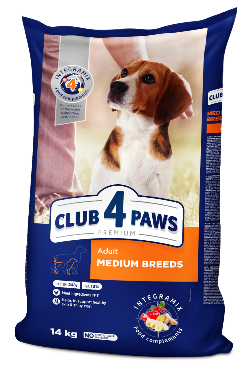 Корм Club 4 Paws Клуб 4 Лапи для дорослих собак середніх порід від 11 до 25 кг 14 кг
