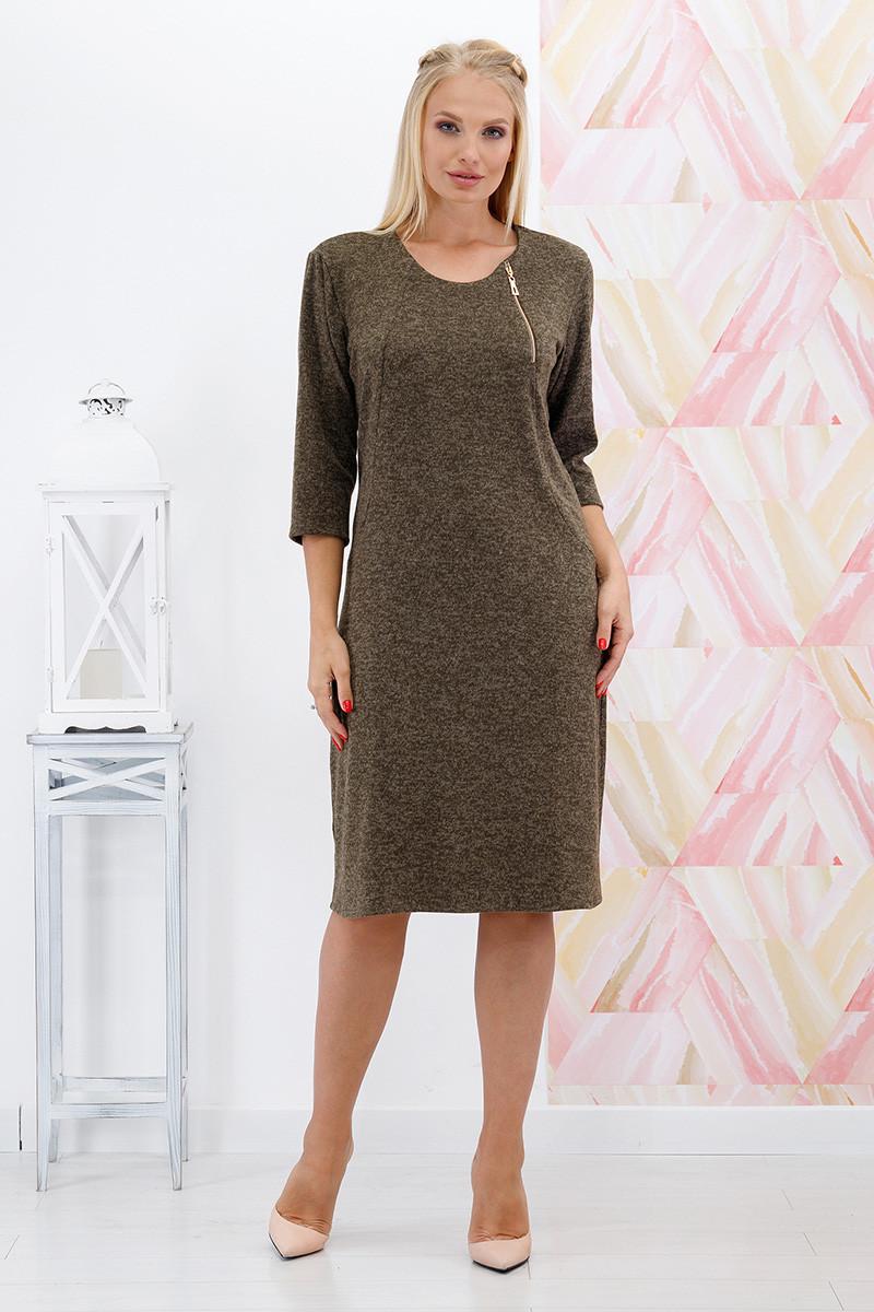 Платье большого размера Вероника ангора хаки