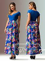 Батальное платье в пол с цветами