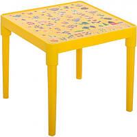 Стол пластиковый детский Алеана 51x51 см желтый