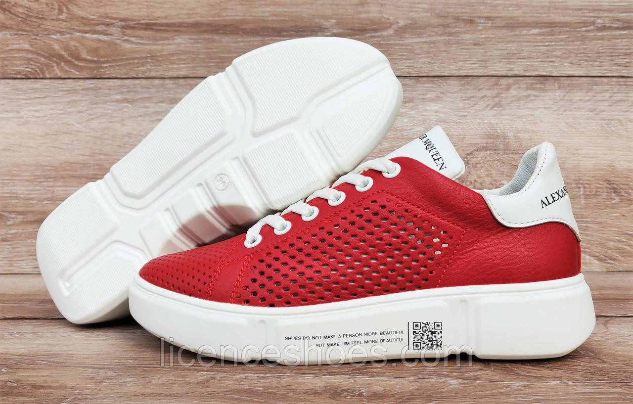 Детские, подростковые кроссовки RoadStyle Red/White ПЕРФОРАЦИЯ Натуральная кожа (Реплика ААА)