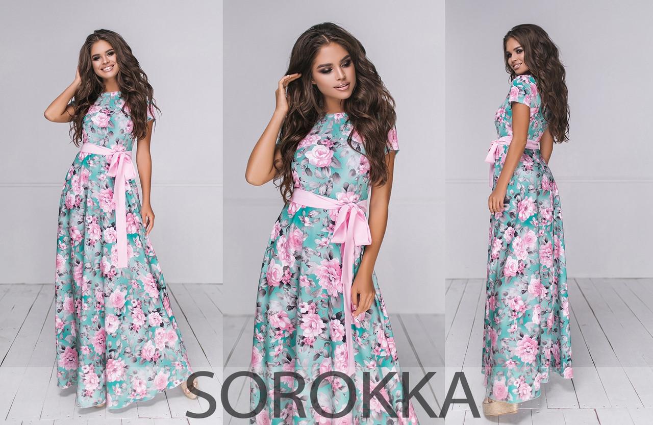 Длинное летнее платье в цветочном принте  из софта  в 2-ух расцветках 42-46