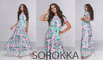 Длинное летнее платье в цветочном принте  из софта  в 2-ух расцветках 42-46, фото 2