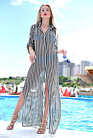 Пляжная туника-рубашка из шифона на пуговках в полоску, в пол (42-48), фото 1