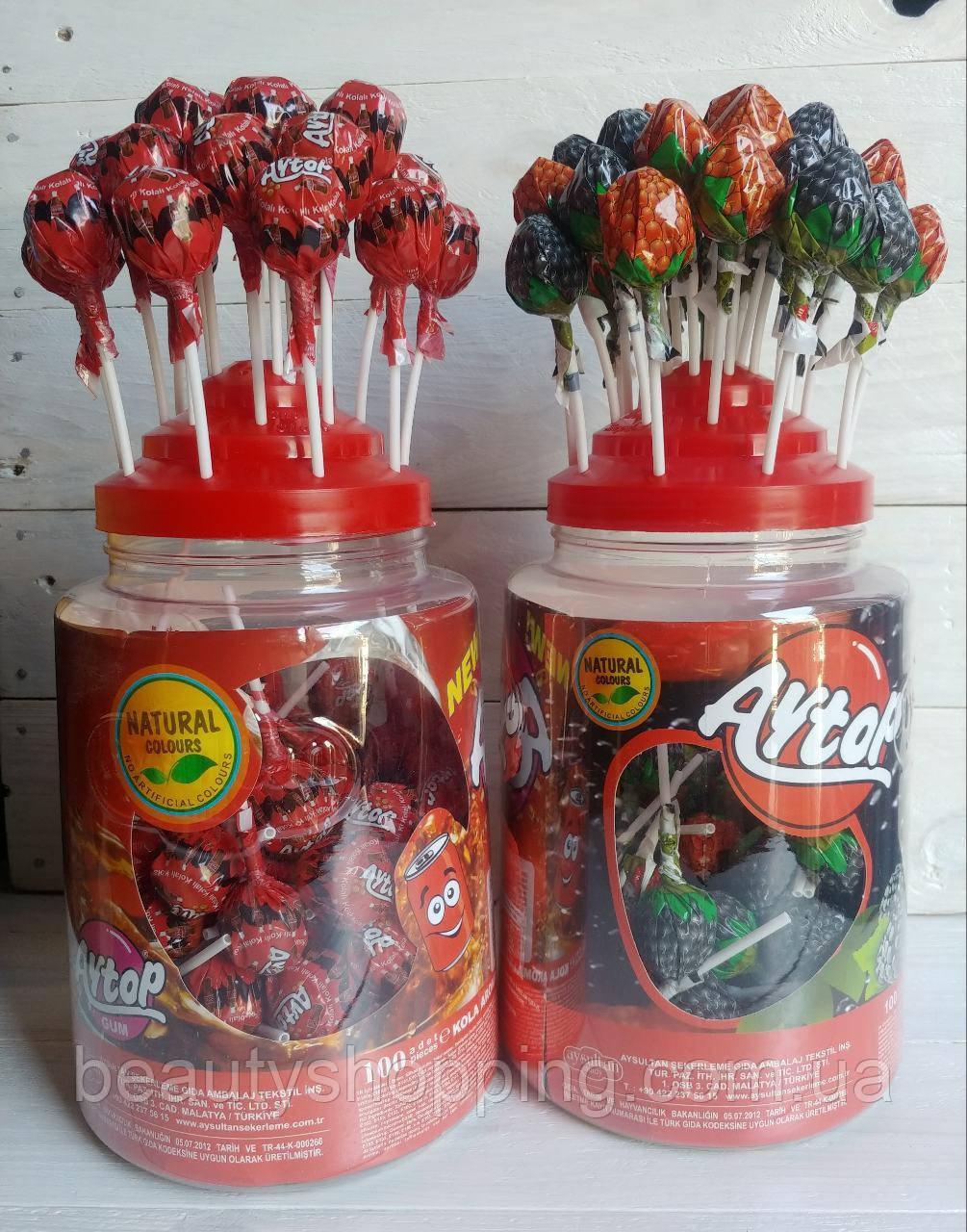 Aysultan Aytop леденцы на палочке со вкусом колы и лесных ягод 200 штук Турция Акция