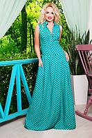 Летнее длинное платье Лагуна бирюзовое 42-50 размеры