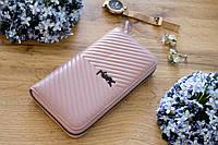Кожаный женский клатч-кошелек / Женский клатч из натуральной кожи пудра/нежно-розовый, фото 1