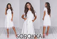 Летнее красивое платье-халат  с отделкой дорогим кружевом в 3-х расцветках 42-46