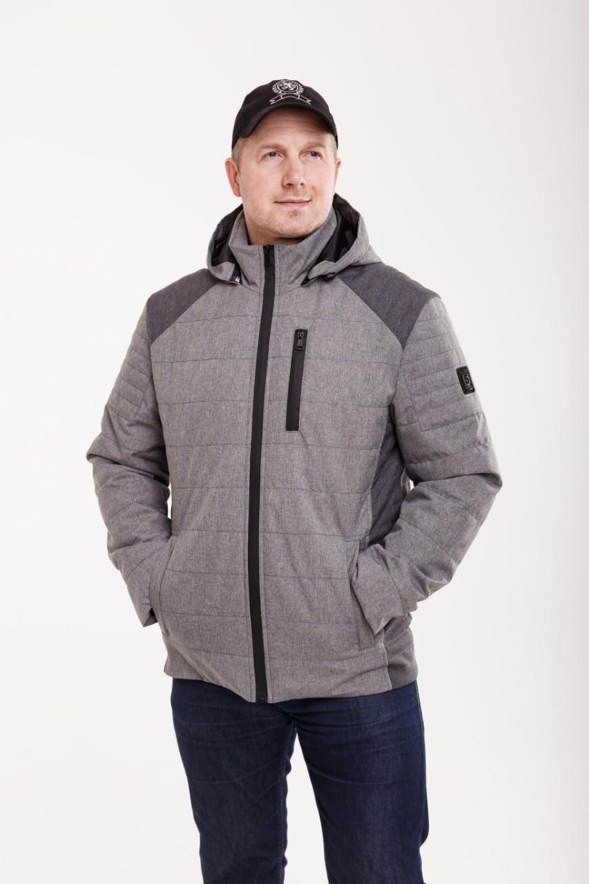 Демисезонная мужская куртка  удлиненная  48-58 серый