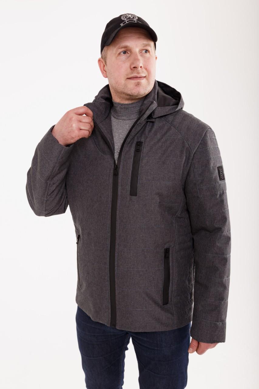 Курточка мужская демисезонная с капюшоном    48-58 темно-серый