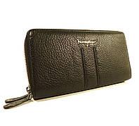 Кошелек кожаный на 2 молнии Salvatore Ferragamo 4383 черный  в наличии, фото 1