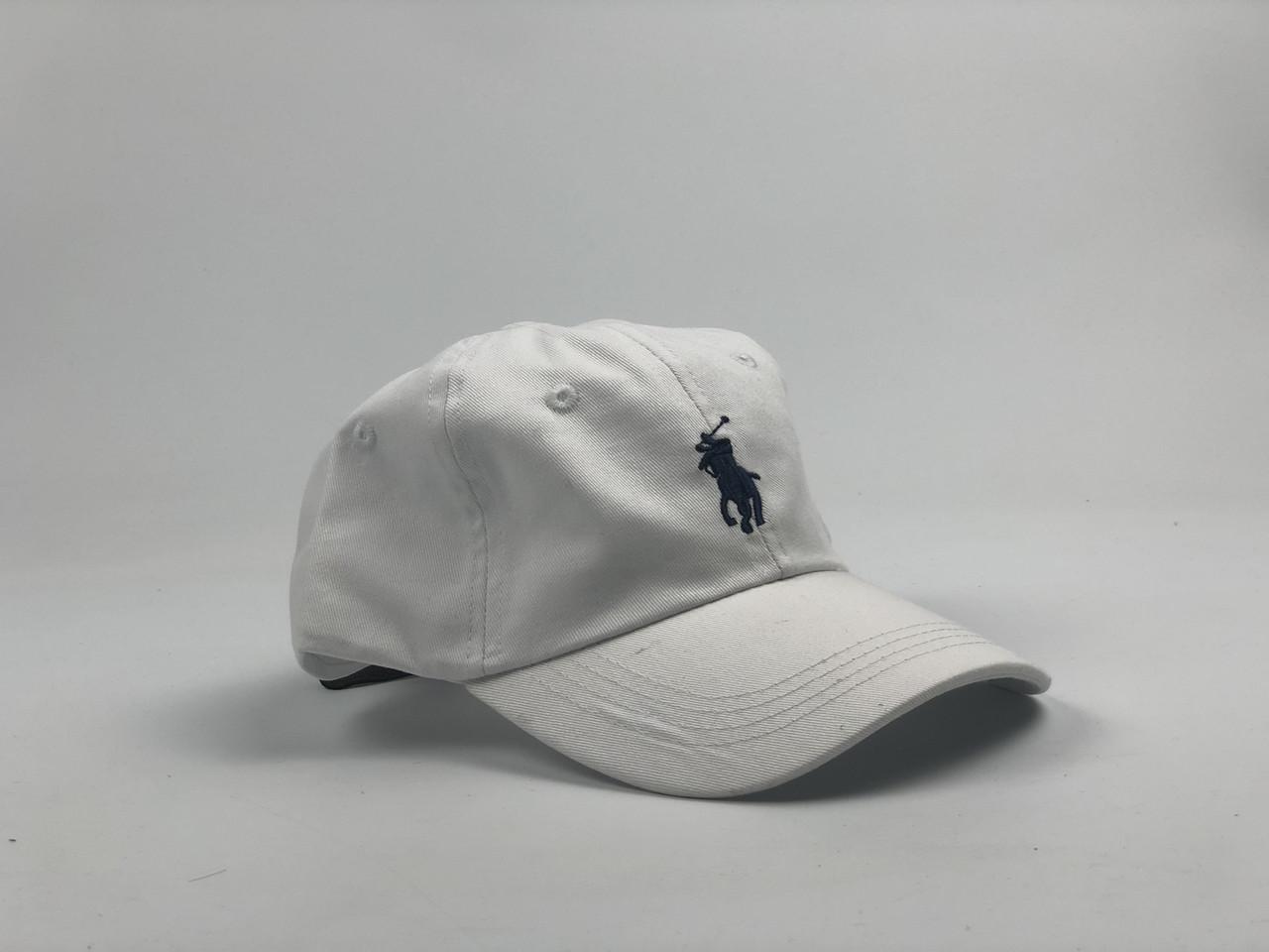 Кепка бейсболка Polo Ralph Lauren (белая с черным лого) с кожаным ремешком