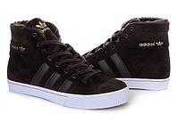 Зимние мужские кроссовки Adidas AdiTennis High Fur (адидас адитеннис хай фюр) высокие коричневые