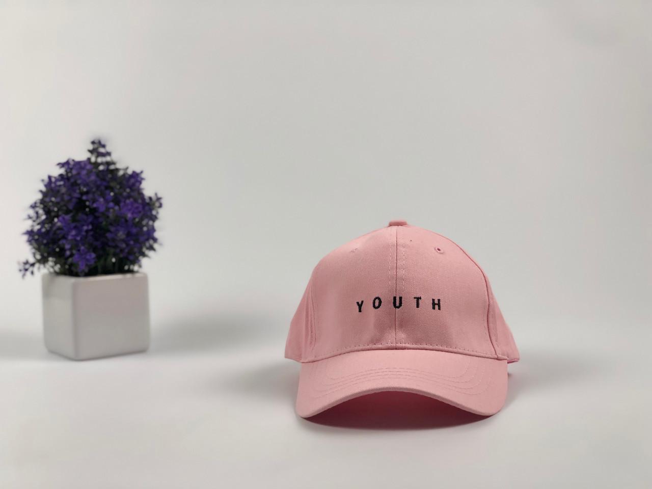 Кепка бейсболка Youth (розовая) застежка пластик