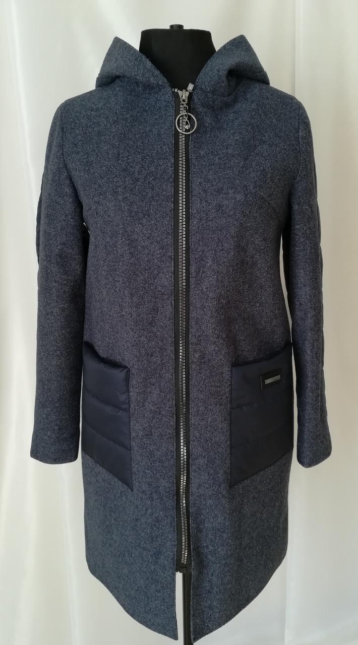 Женское демисезонное пальто модное  42-50 синий