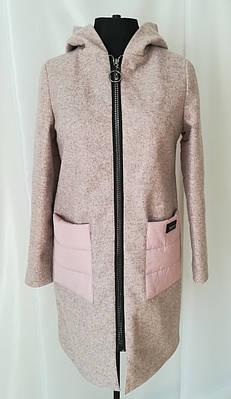 Демисезонные пальто женское  с капюшоном 42-50 пудра