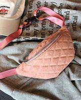 Сумка на пояс - бананка - Італія рожева - PU шкіра, фото 1