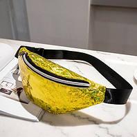 Сумка на пояс Бананка Сияние - Золотая PVC, фото 1