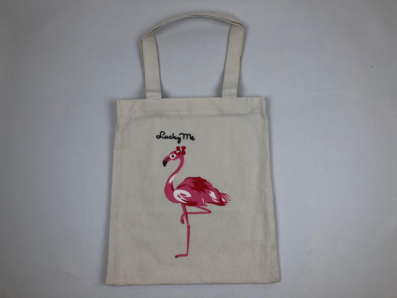 Сумка Тканевая Фламинго Белая