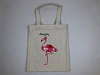 Сумка Тканевая Фламинго Белая, фото 1