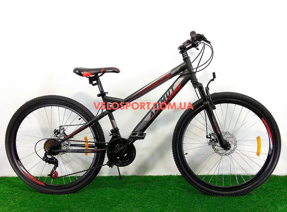 Подростковый велосипед Azimut Hiland 24 GD черно-красный