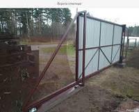 Откатные ворота с покрытием профнастила