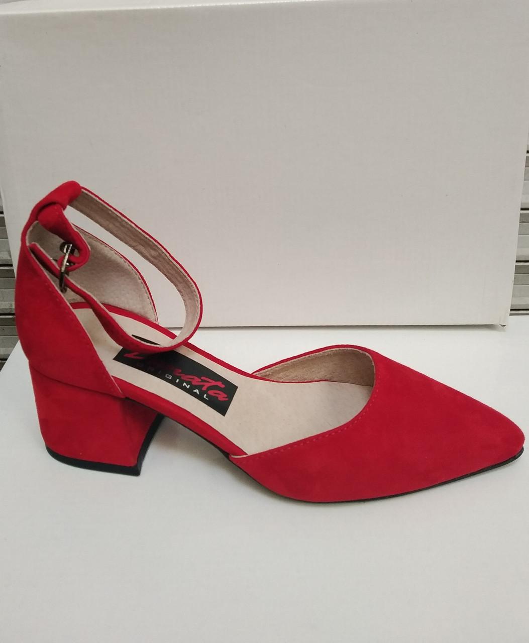 Босоножки туфли женские на каблуке замшевые красные