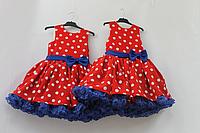Нарядное платье  в стиле Стиляги с 1-м подьюпником красное в белый горошек с синим подьюпником