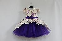 """Нарядное платье на девочку """"Сиреневый цветочек"""" с фиолетовым фатином и рукавчиками фонариками"""