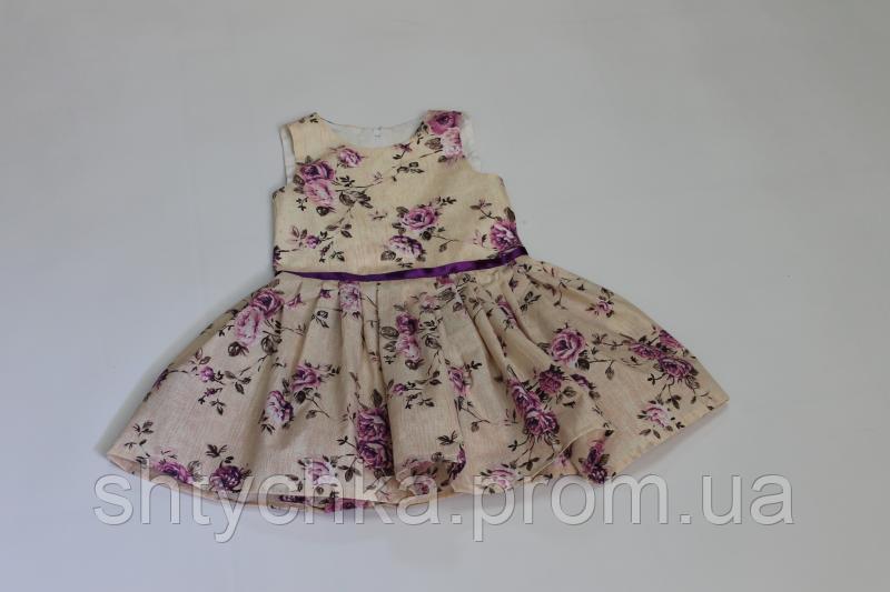 Летнее платье на девочку в цветочек