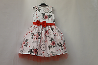 """Нарядное платье на девочку """"Ловец снов"""" с корраловым поясом и бантиком и фатином"""