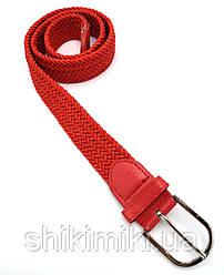 Ремень поясной  плетенка резинка красный (3,5 см)