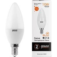 Лампа светодиодная Gauss Elementary 10 Вт C37 матовая E14 220 В 3000 К