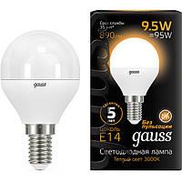 Лампа светодиодная Gauss Black 9.5 Вт G45 матовая E14 3000 К