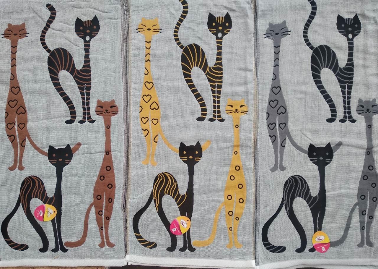 """Льняное кухонное полотенце """"Стройные котики"""".размер 0,35 x 0,70."""