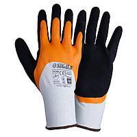 Перчатки трикотажные с двойным латексным покрытием р10 (желто-черные манжет) Sigma (9445621)