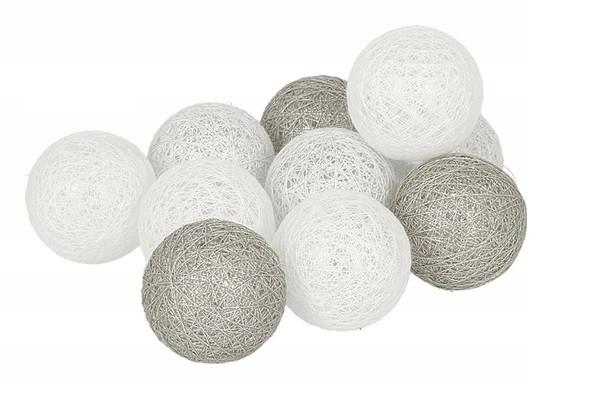 Гирлянда тайские шарики Decorino Provense Cotton Balls 10led, диам 6см, длина 235см на батарейках АА