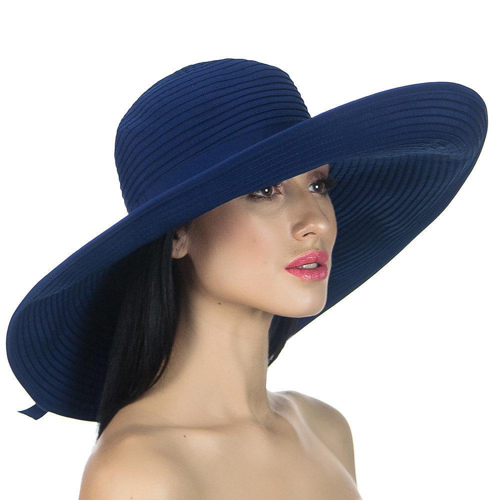 Темно синяя женская летняя шляпа  с моделируемыми  полями